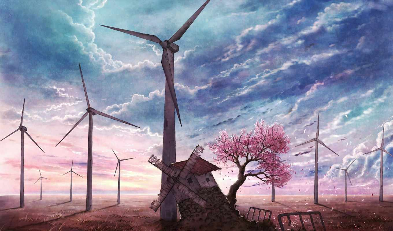 anime, full, картинка, Сакура, цветущая, mill, заброшенная, дерево, заставка,