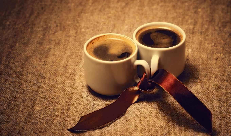 coffee, макро, две, cup, чашки,