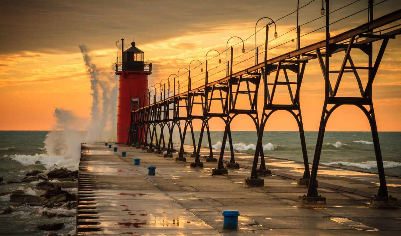 haven, south, michigan, pier, озеро, lighthouse, сша, waves, water, grand,