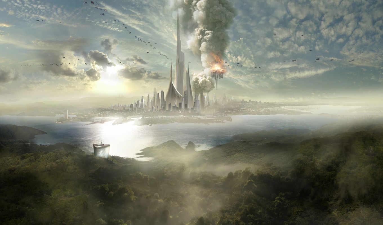 fantasy, облака, ôõ½, шпиль, дымка, город, корабли, остров, взрыв, desktop, images, разрешением, картинку, places,