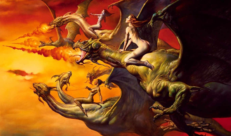 фентези, vallejo, boris, небо, полет, всадница, дракон, драконы,
