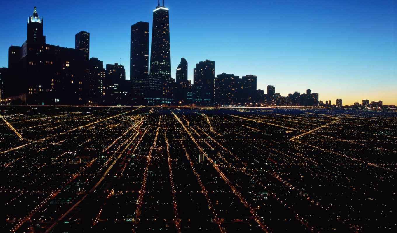 chicago, город, море, река,