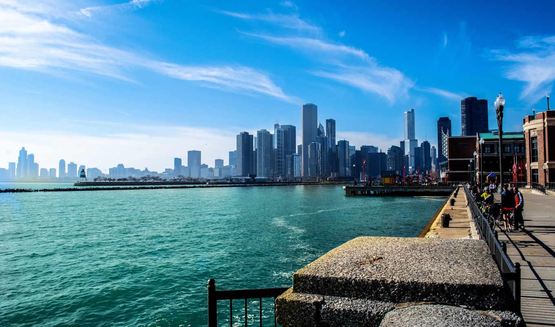 город, небоскребы, небо, chicago, иллинойс, река, michigan,