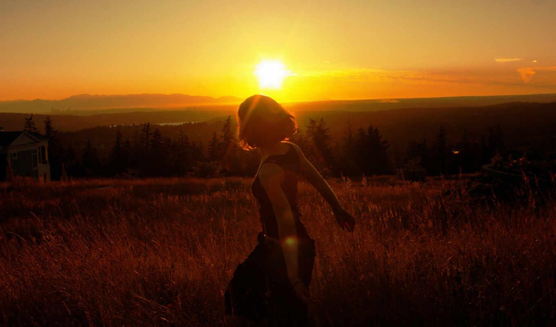 девушка, лес, trees, горизонт, distance, склон, горы, небо, закат, природа,