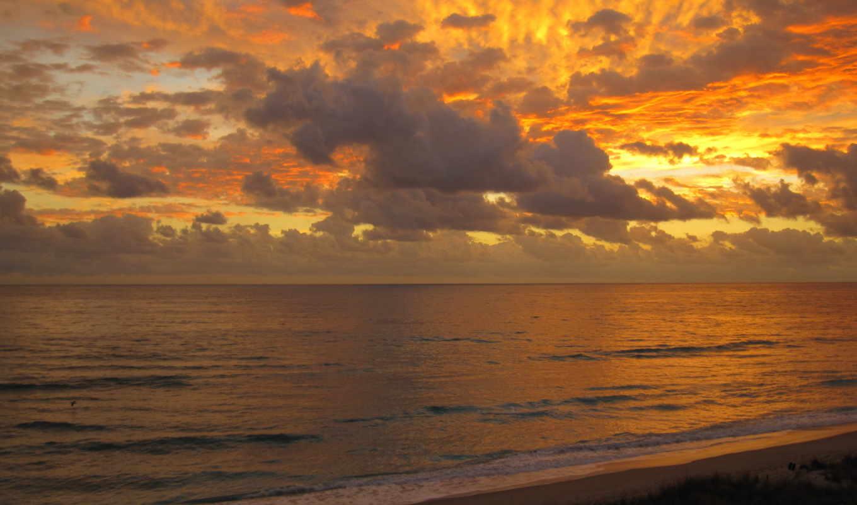 небо, берег, вечер, море, пляж, красивый, закат, вид, water,