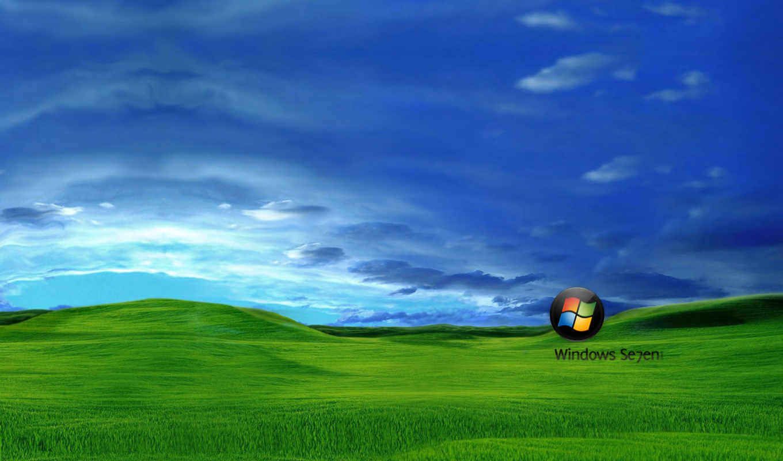 windows, Se7en, serenity, поле, холм, трава, небо, облака