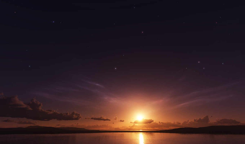 небо, sun, oblaka, море, закат, природа,