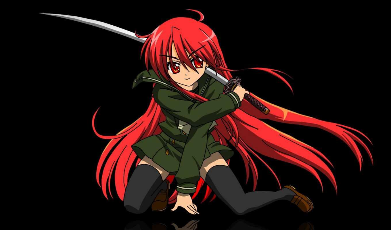 anime, девушка, волосы, меч, red, качественные, мечом, devushki,