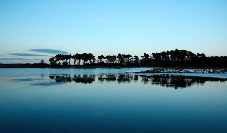 lake, nature, winter, morning, landscape,