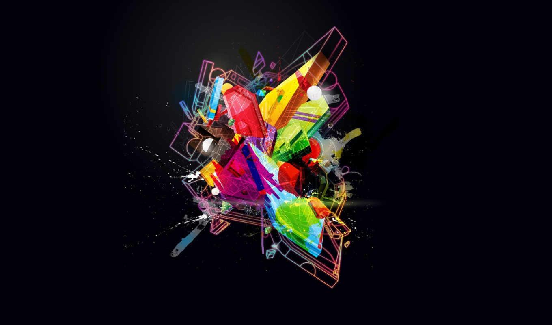 черный, art, комок, abstract, цвет, blue, линии, kokainka, splash, фигуры, digital, multicolor,