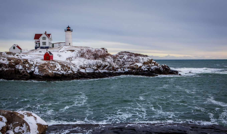 lighthouse, winter, landscape, coast, rocky, sea,