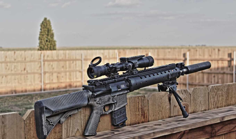 оружие, винтовка, снайперская, глушитель, сошки, оптика, пикатинни, забор