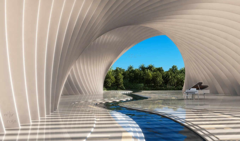 piano, взгляд, water, arcade, art, инструмент, река, музыка,