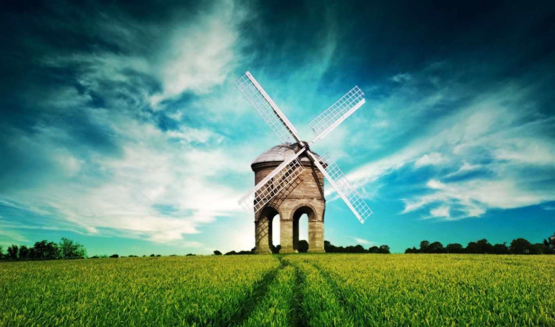 трава, широкоформатные, маленькая, разрешением, pole, горы, небо,