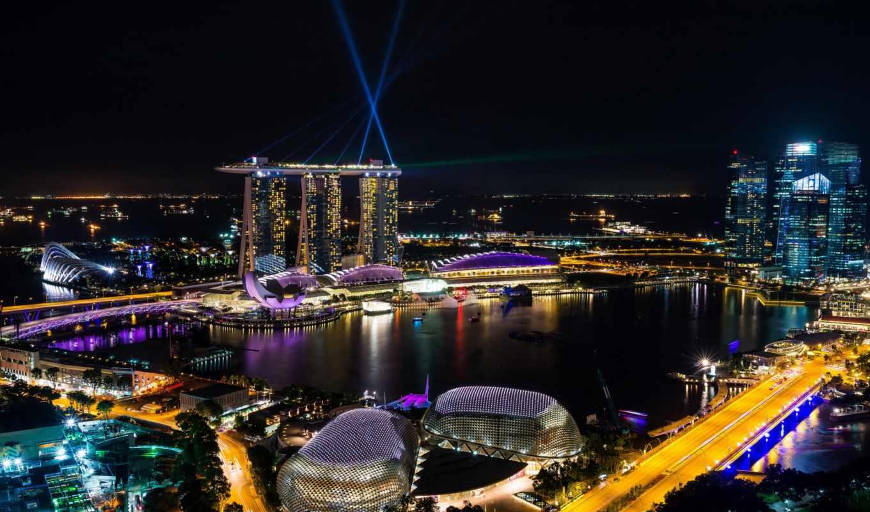 singapore, ночь, мегаполис, roads, огни, улица, cities, bay,