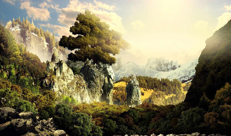 landscape, fantasy, desktop, wallpapersus, world, скалы, fantastic,