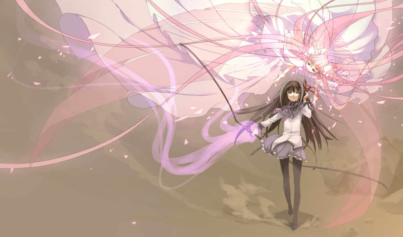 аниме, madoka, magica, девушки, арт, mahou, shoujo, картинка, hair, bow, akemi, homura,