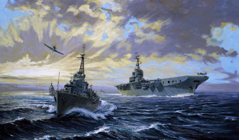 море, корабль, корабли, авианосец, самолёт, сша, небо,