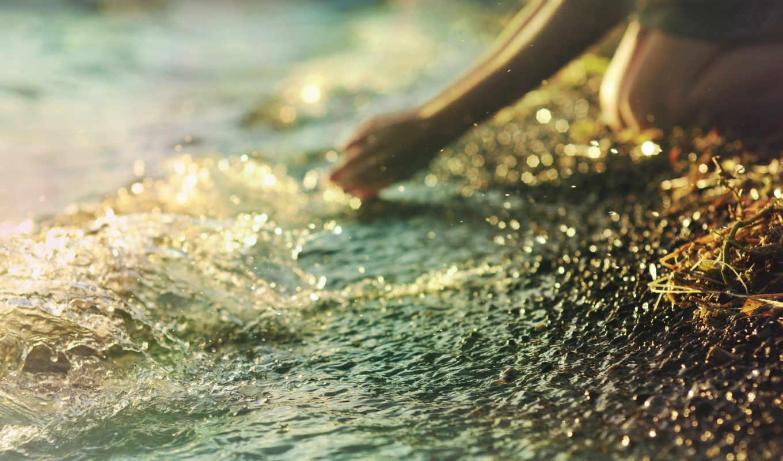 девушка, море, берег, брызги, руки, настроение, колени, моет, природа,