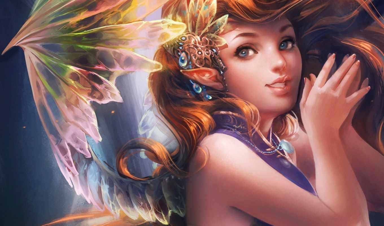 девушка, эльф, волосы, крылья, fantasy, art,