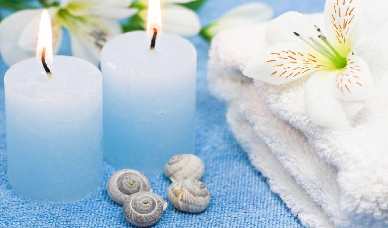 свеча, цветы, полотенце, blue, spyi, пламя, нежность, девушка