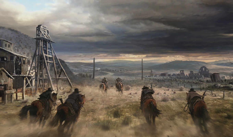 дикий, запад, лошади, ковбои,