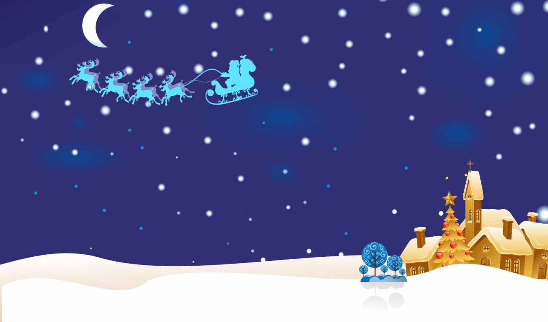 christmas, idyll, night, design, card,