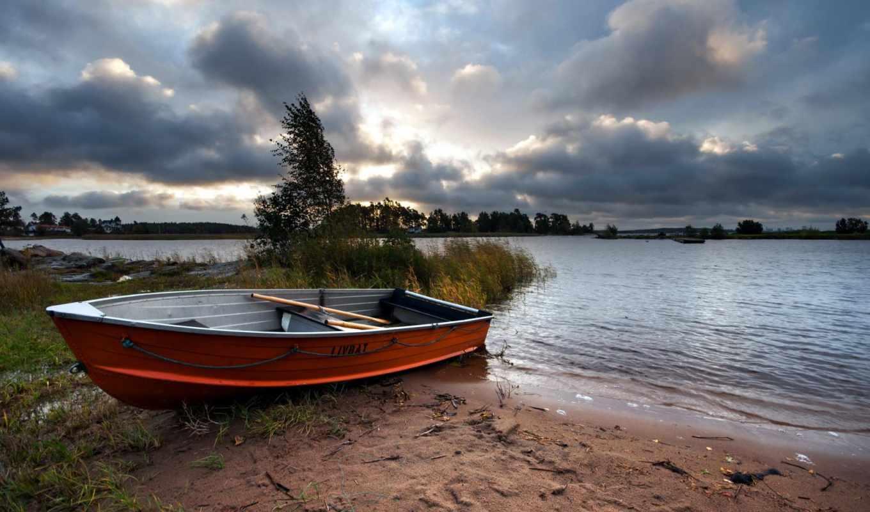 лодка, пейзаж, река, без, от, базы, лодки, авто, просит, tapety,