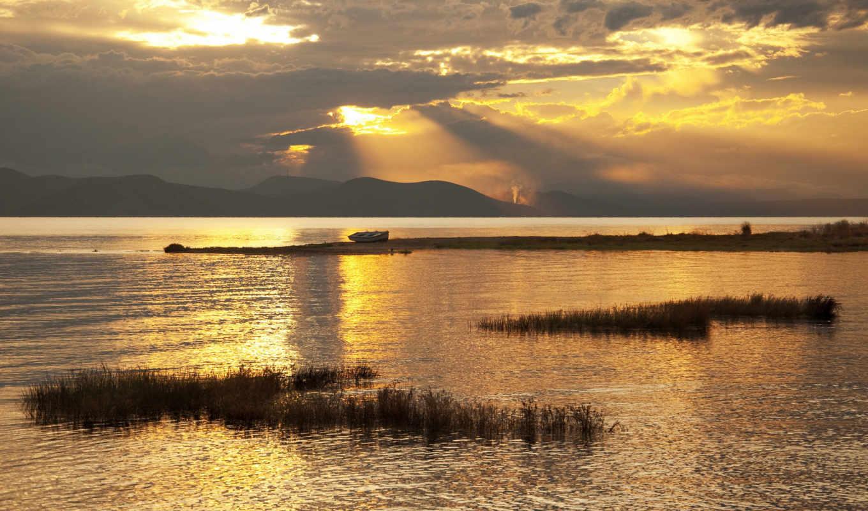 золотистый, закат, озеро, desktop,