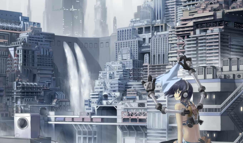anime, наушники, город, девушка, книги,