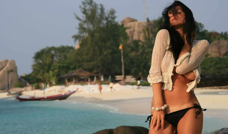 девушка, пляж, море, картинка, brunette, girls, summer,