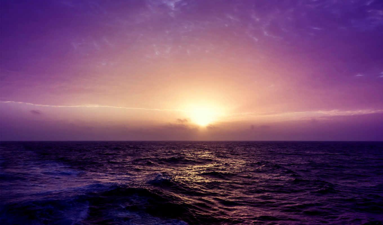море, закат, purple, desktop, природа,