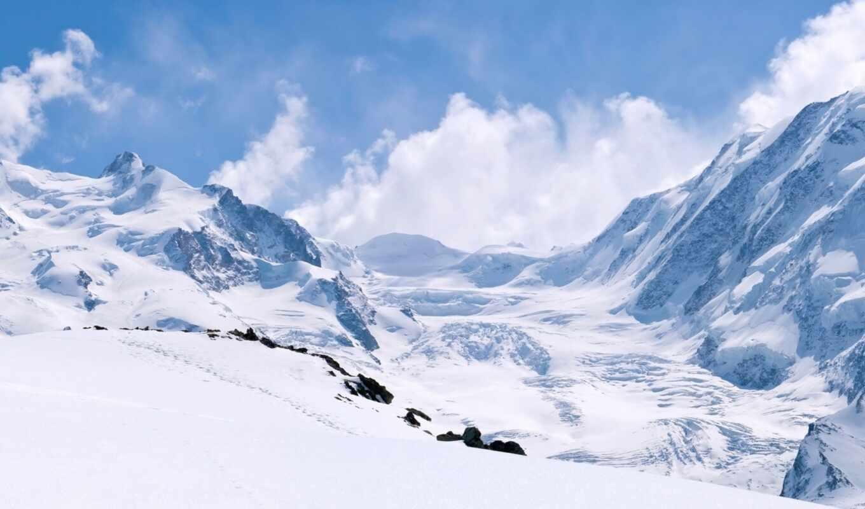 winter, горы, снег, oblaka, природа, скалы, небо, landscape,