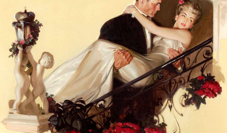 женщина, мужчина, картинка, два, tom, lovell, cvety, платье, рисунок,