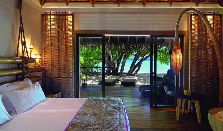 bamboo, rope, lights, beach, tree, bed, стиль, спальня,