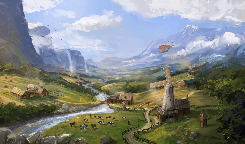 пейзаж, ферма, мельница, powell, jonathan, фото, арт,