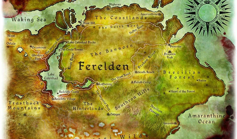 дракон, age, origins, map, concept, art, ферелден,
