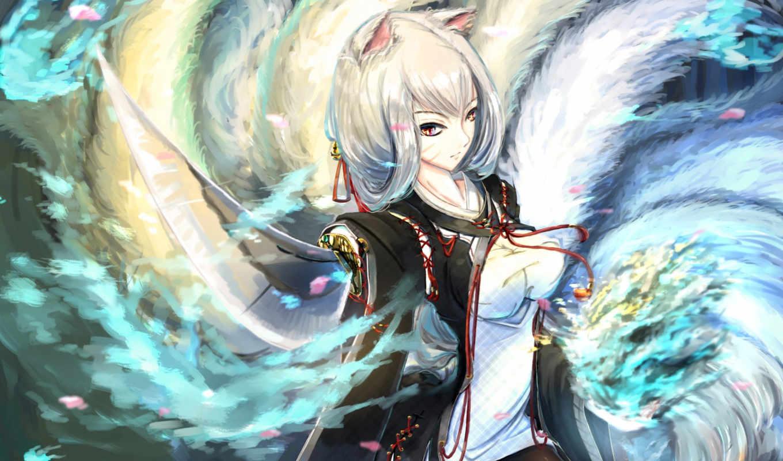 anime, магия, девушки, девушка, весна,