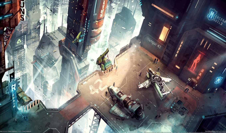 симулятор, star, cosmic, citizen, огни, город, art, concept, корабли, космического, игр,