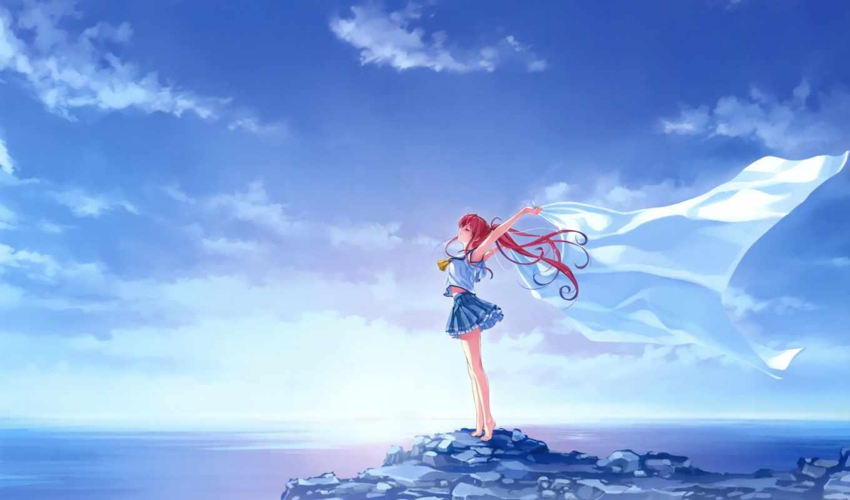 небо, mac, девушка, anime, море,