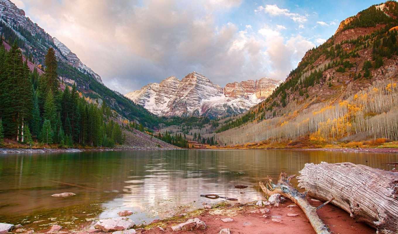 природа, гора, небо, landscape, очарование, осень, trees, озеро