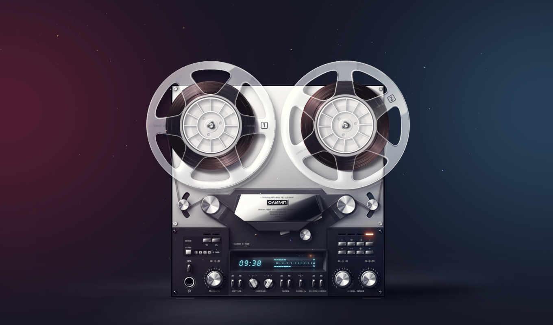 олимп, магнитофон, обои, ретро, стерео, катушки, п