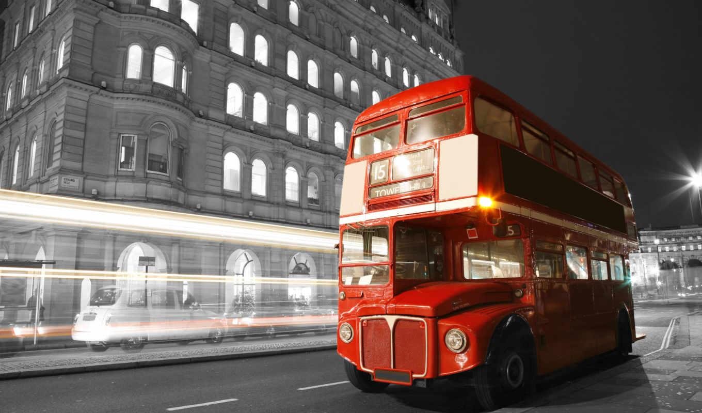 англия, london, bus, улица, ночь, город,