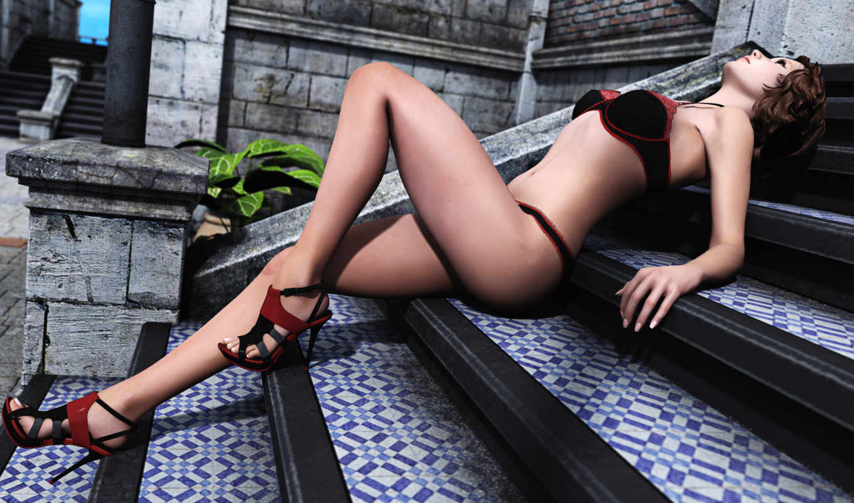 лестница, rendering, широкоформатные, белье, девушка, нижнее,