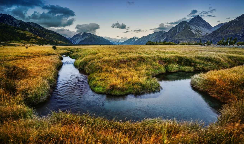 zealand, new, зеландия, новая, горы, речка, луга,