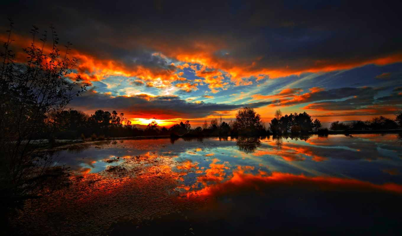 небо, резкое, oblaka, категории, отражение, может,