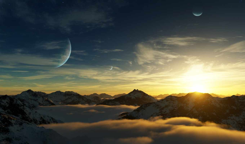 горы, планеты, небо, солнце, облака, планета, глизе, mountains, planets, nature, пейзажи, картинка, туман,