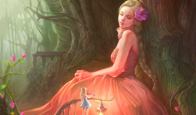 девушка, фея, скрипка, фонарь, лес, арт, цветы, картинка, картинку,