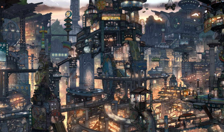 anime, город, architecture, огни, ночь,