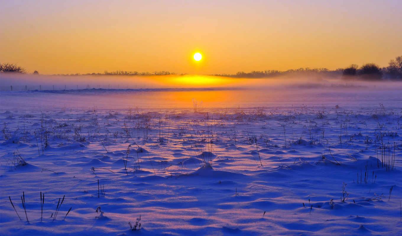 поле, winter, снег, туман, лес, горизонт, картинка,